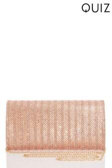 Quiz All Over Diamante Flat Clutch Bag