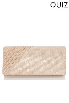 Quiz Textured Pleated Edge Clutch Bag