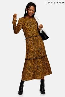 Topshop Animal Mesh Tiered Smock Midi Dress