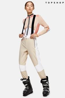 Topshop Snow Ecru Colour Block Ski Trousers