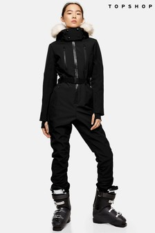 Topshop Snow Black Hooded Ski Snow Suit