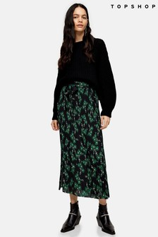 Topshop Floral Print Tie Pleated Midi Skirt