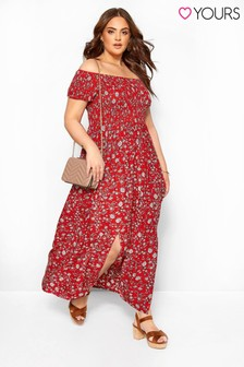 Yours Curve Bardot Floral Ditsy Dress