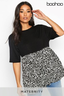 Boohoo Maternity Contrast Leopard Smock Top