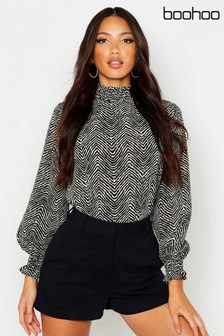 Boohoo Zebra Print High Neck Blouse