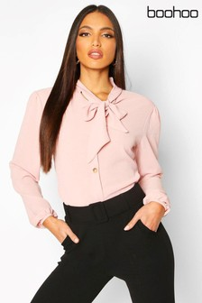 Boohoo Pussybow Button Through Volume Sleeves Blouse