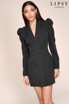 Lipsy Puff Sleeve Double Breasted Blazer Dress