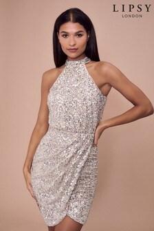 Lipsy Sequin Halter Dress