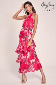 Abbey Clancy x Lipsy Ruffle Printed Maxi Dress