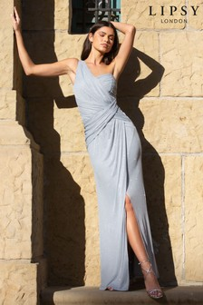 Lipsy One Shoulder Glitter Ruched Maxi