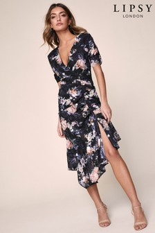 Lipsy Floral Jaquard Ruched Midi Dress