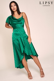 Lipsy Spot Jacquard One Shoulder Dress