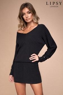Lipsy knitted slashneck batwing dress