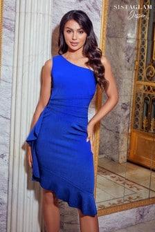 Sistaglam Loves Jessica One Shoulder Frill Hem Mini Dress