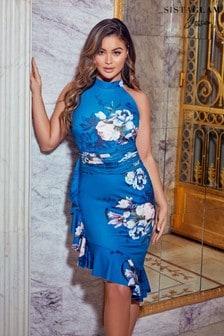 Sistaglam Loves Jessica Floral Halterneck Frill Hem Midi Dress