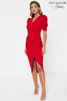 Sistaglam Loves Jessica Wright V neck Wrap Midi Dress