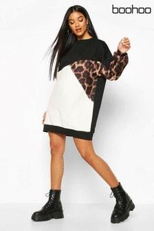 Boohoo Leopard Colourblock Sweater Dress