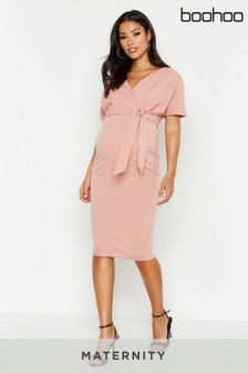 Boohoo Maternity Wrap Tie Waist Midi Bodycon Dress