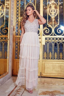 Sistaglam Tiered Sequin Maxi Dress