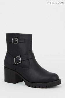 New Look Leather Look Chunky Biker Boots
