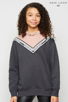 New Look Girls Light Chevron Colour Block Hoodie