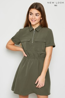 New Look Girls Utility Shirt Midi Dress