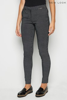 New Look Geometric Zip Front Skinny Trousers