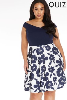 Quiz Curve Floral Skater Dress