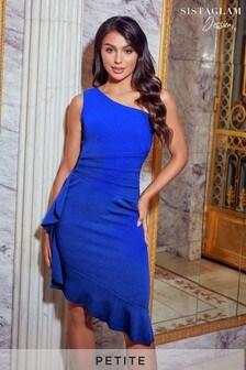 Sistaglam Loves Jessica Petite One Shoulder Frill Hem Mini Dress