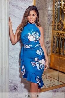 Sistaglam Loves Jessica Petite Floral Halterneck Frill Hem Midi Dress