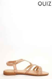 Quiz Diamante Twist Strap Flat Sandal