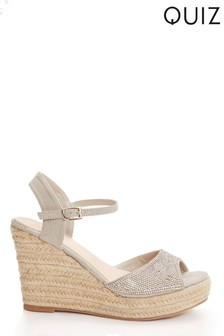 Quiz Diamanté Peep Toe High Espadrille Wedges