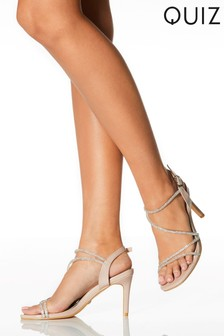 Quiz Diamante Clear Strap Heeled Sandal