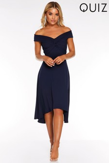 Quiz Bardot Knot Front Midi Dress