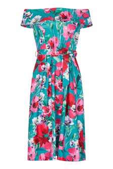 Yumi Retro Floral Bardot Dress