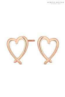 Simply Silver Sterling Silver 925 14ct Crossover Heart Stud Earring