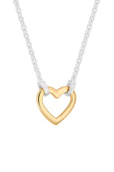 Simply Silver Sterling Silver 925 Two Tone Open Heart Pendant