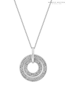 Simply Silver Sterling Silver 925 Cubic Zirconia Double Link Open Pendant