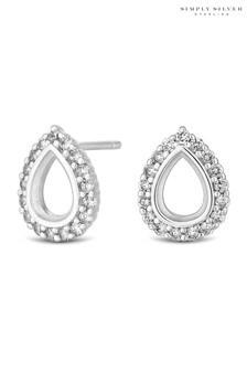 Simply Silver Sterling Silver 925 Cubic Zirconia Open Pear Stud Earring
