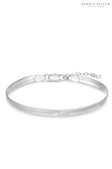 Simply Silver Sterling Silver 925 Flat Snake Bracelet