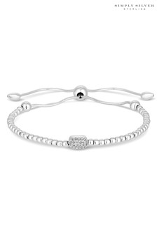 Simply Silver Sterling Silver 925 2 Tone Cubic Zirconia Pave Beaded Toggle Bracelet