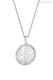 Simply Silver Sterling Silver 925  Cubic Zirconia Filigree Round Pendant