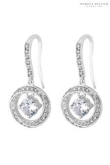 Simply Silver Sterling Silver 925 Cubic Zirconia Halo Round Drop Earring