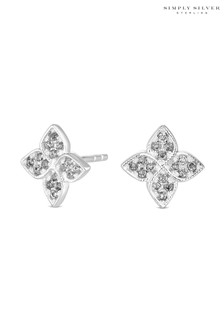 Simply Silver Sterling Silver 925 Cubic Zirconia Clover Stud Earring