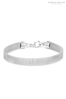 Simply Silver Sterling Silver 925 Polished Milinaise Bracelet