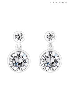 Simply Silver Sterling Silver 925 Cubic Zirconia Mini Besel Set Solitaire Earring