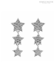 Simply Silver 925 Cubic Zirconia Graduated 3 Star Drop Earring