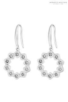 Simply Silver Sterling Silver 925 Cubic Zirconia Floral Open Drop Earring