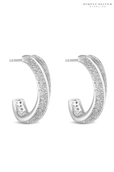 Simply Silver Sterling Silver 925 Cubic Zirconia Pave Twist Hoop Earring