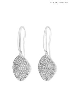 Simply Silver Sterling Silver 925 Cubic Zirconia Pave Organic Drop Earring